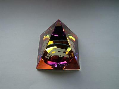 DOLPHIN in a PYRAMID COLOURED CUT GLASS CRYSTAL ORNAMENT