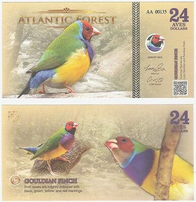 Atlantic Forest 24 Aves Dollars 2016 UNC Fantasy Banknote - Gouldian Finch Bird