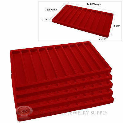 5 Red Insert Tray Liners W/ 10 Slot Each Drawer Organizer Jewelry Displays