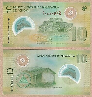 Nicaragua 10 Cordobas 2007 P-201 NEW UNC Uncirculated Polymer Banknote
