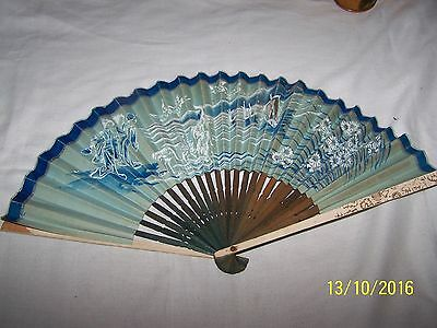 Paper hand held fan with Japanese couple, birds, Junks and flowers