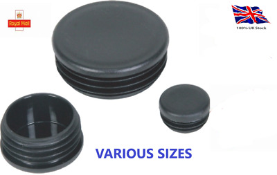 Round Plastic Black Blanking End Cap Caps Tube Pipe Inserts Plug Bung