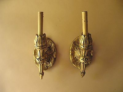 old Estate gold hand carved wood Italian SCONCES wall lights Venetian lamps fine