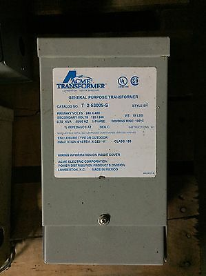 Acme T-2-53009-S 75 Kva 1 Ph 240/480 120/240 V General Purpose Transformer