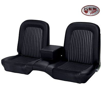 1968 Ford Mustang Black Front and Rear Bench Seat Upholstery Made in USA by TMI