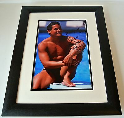Greg Louganis SIGNED FRAMED Photo Autograph 16x12 Huge display Olympic Diver COA