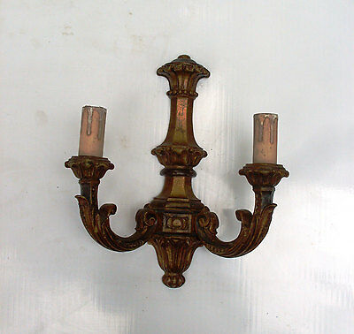 Vintage Italian Old Wooden Handmade Wall Sconce, Electric Old candlestick 2 bulb