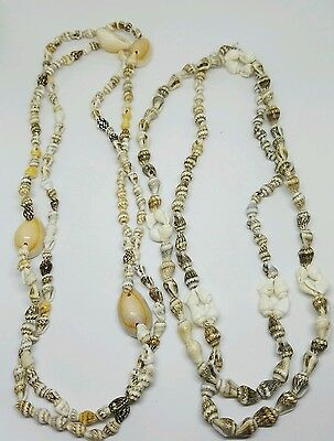 Vintage 1980's Cowrie Shell Sea Shell Surfer Beach Necklace x 2