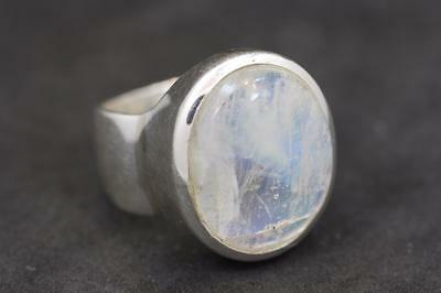 Handmade Bali Sterling Silver .925 Oval Rainbow Moonstone Solitaire Ring. Sz 8.