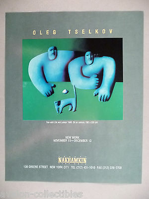 Oleg Tselkov Art Gallery Exhibit PRINT AD - 1989 ~~ Two with Cat and Lemon