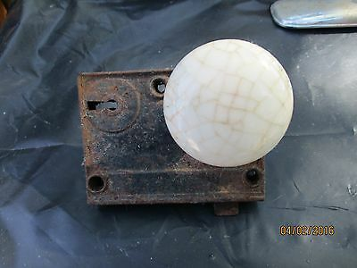 antique white marble door knob & hardware