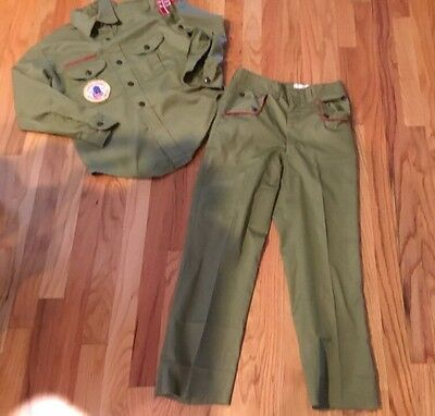 Vintage 1970S BSA Boy Scouts Of America Olive Green Uniform Pants Shirt Patches