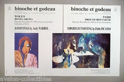 Andy Warhol & Pablo Picasso Art Gallery Exhibit Double-Page PRINT AD - 1989
