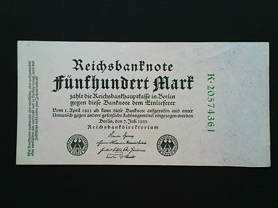 GERMANY 500 MARKS BANKNOTE UNCIRCULATED 1922 P-74c / Ro-71c -aUNC-