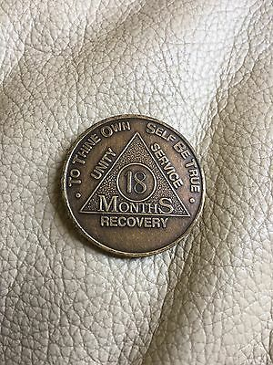 AA Alcoholics Anonymous 18 Month Recovery Sobriety Chip Coin Token Medallion