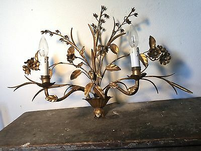 Vtg ITALY Hollywood Recency Gilt Floral Candle Holder Wall Sconce MCM Wheat Lamp