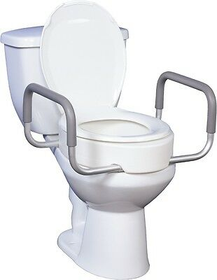 Toilet Seat Riser With Removable Arms For Elongated Toilets Drive Medical 12403-