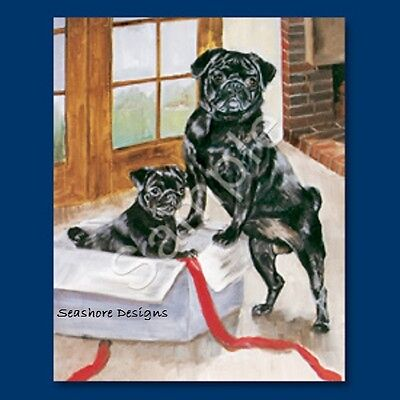PUG Black Pugs Gift Box Ruth Maystead  6-Pack Dog Festive Note Cards NEW
