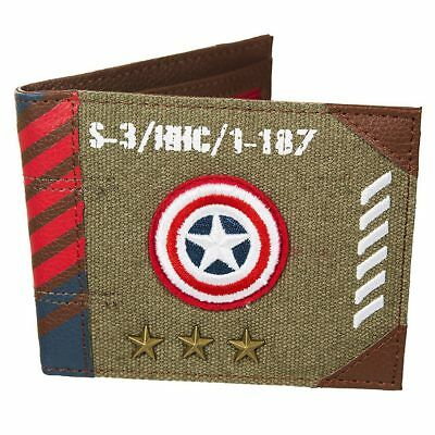 NEW OFFICIAL Captain America Marvel Vintage Army Mens / Boys Bi-Fold Wallet