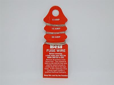 New Card Of Assorted Consumer Fuse Wire  5, 15,  30 Amp