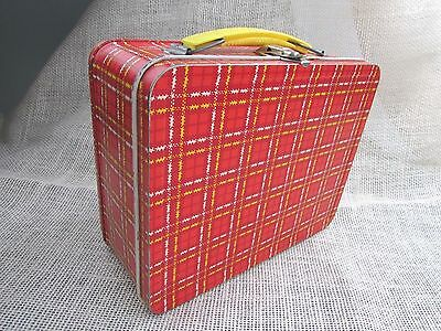 Vintage Ohio Art Plaid Metal Lunchbox - Yellow Handle