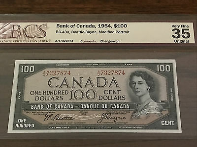 1954 Modified Portrait $100 Bank of Canada BC-43a Changeover Note Graded