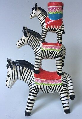 "Vintage Mexican pottery stacked zebras candleholder Castillo  Puebla 8.5"" tall"