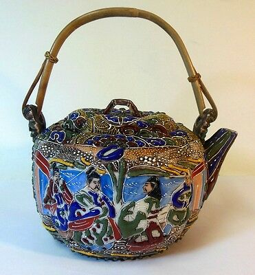 Antique Japanese Asian MORIAGE Satsuma Teapot SIGNED Melon Scholars Royalty