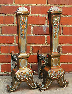 Unusual Antique Arts Crafts Fireplace Andirons A1 D4 Deco Fire Dogs