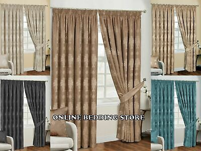 Luxury Jacquard Curtains Ready Made Pencil Pleat Fully Lined with Tie Backs