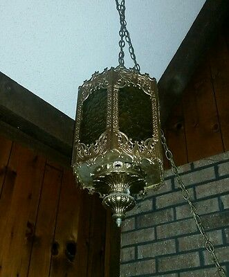 1970's Vtg Gothic Spanish Hanging Swag Lamp 6 Amber Acrylic Lenses ESTATE SALE
