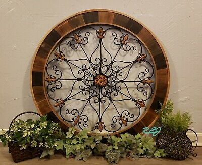 Large Rustic Decorative Brown Wood  Scroll Wrought Iron  Wall Grille Art Plaque