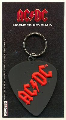 AC/DC Logo Rubber Keyring Official Plectrum Shape Carded