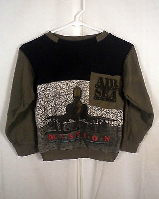 vtg 80s classic retro Air Sea Mission Sweatshirt pocket fighter jet loud Youth M