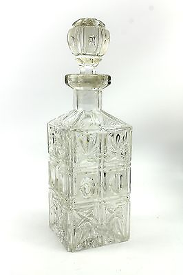 Vintage Cut Lead Crystal Glass Square Decanter w/ Stopper Palm Leaf Thumbprint