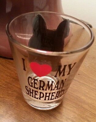 Vintage Original 3D I LOVE MY German Shepherd Shot Glass