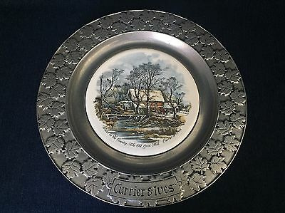 Vintage Currier & Ives Pweter Plate Winter In The Country Tile Center