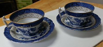 2 Vintage Booths Real Old Willow Cup & Saucer Sets (2). England. Dinnerware Blue