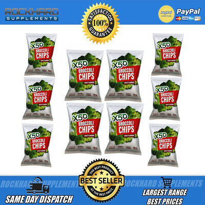 X50 Broccoli Chips Spicy Flavour 10 Pack Tribeca Health Tasty Snack Tribecca