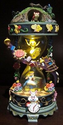 RARE Disney Alice in Wonderland Down The Rabbit Hole Hourglass Musical Snowglobe