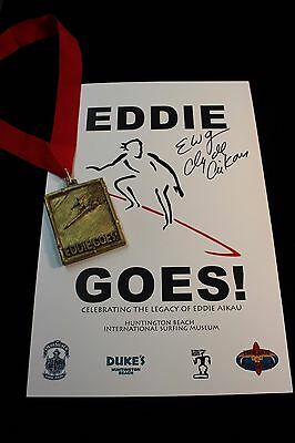 Eddie Aikau Surf Museum Exhibit Poster and Medal Signed Clyde Aikau