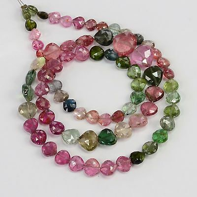 56CT Multi Tourmaline Faceted Center Drilled Heart Briolette Bead 16 inch strand