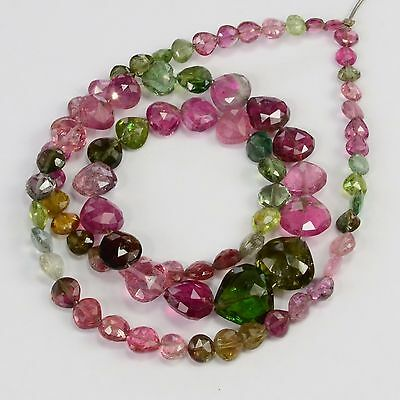 55CT Multi Tourmaline Faceted Center Drilled Heart Briolette Bead 16 inch strand