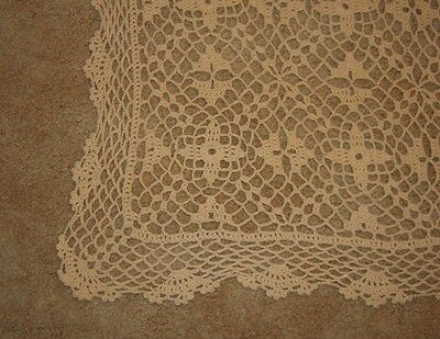 Vintage crochet lace tablecloth runner 46 inches long Embroidered