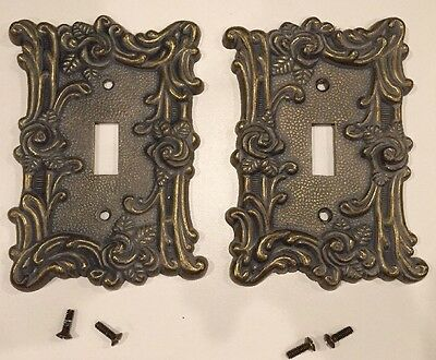 2 Vintage AmerTac Solid Metal Light Switch Plate Cover 60T Rose Brass Colored B