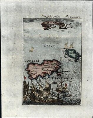 Madeira island Portugal coast of Africa 1719 charming antique engraved map