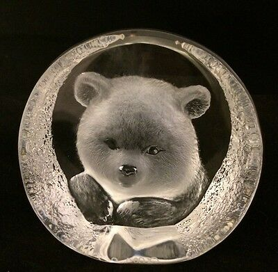 Mats Jonasson Sweden Lead Crystal Art  Bear Face Signed # CrownRed Leather Pouch