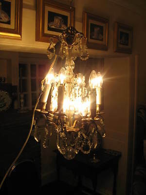 Very Unusual French Vintage 6 Branch 12 Light Chandelier Crystal Drops /3840