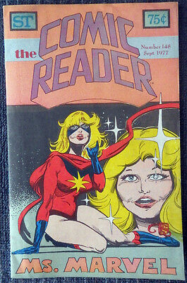 The Comic Reader #148 - 1977 Newzine - Tom Sutton cover of Ms. Marvel!