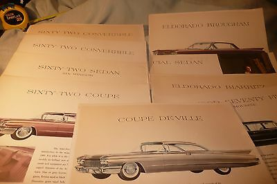 """Cadillac  1960 Catalog Pictures  lot of 9 pages  color  11x14"""""""